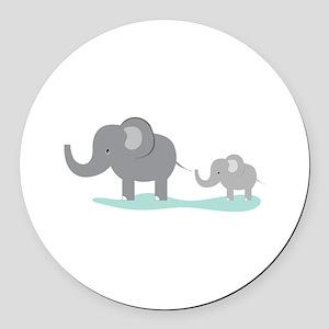 Elephant And Cub Round Car Magnet