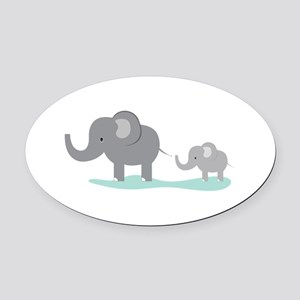 Elephant And Cub Oval Car Magnet