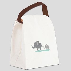 Elephant And Cub Canvas Lunch Bag