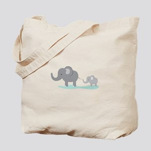 Elephant And Cub Tote Bag