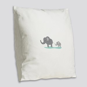 Elephant And Cub Burlap Throw Pillow