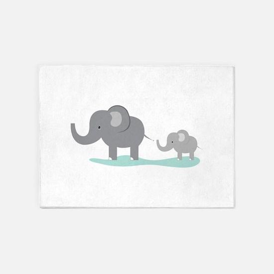 Elephant And Cub 5'x7'Area Rug