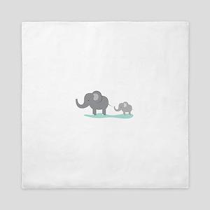 Elephant And Cub Queen Duvet