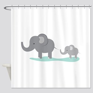Elephant And Cub Shower Curtain