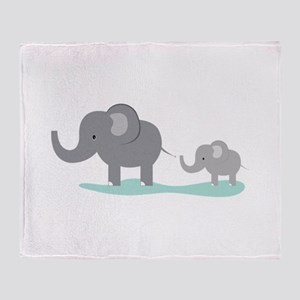 Elephant And Cub Throw Blanket