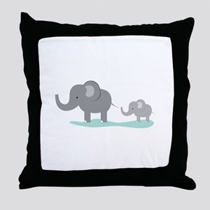 Elephant And Cub Throw Pillow