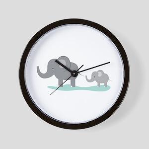 Elephant And Cub Wall Clock