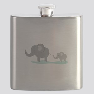 Elephant And Cub Flask