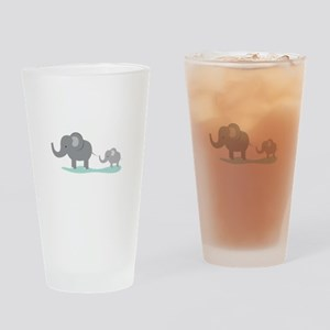 Elephant And Cub Drinking Glass
