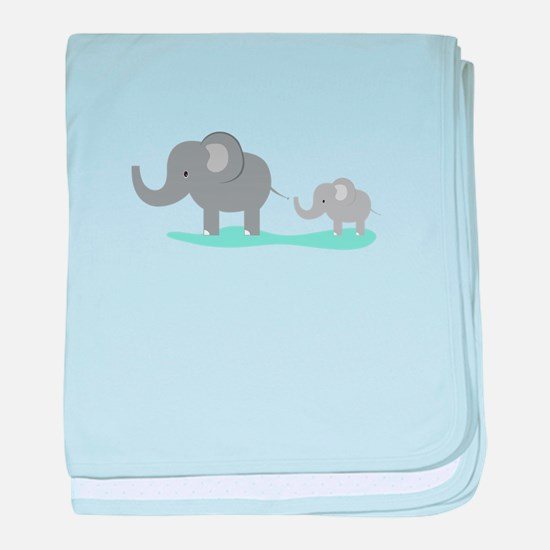 Elephant And Cub baby blanket