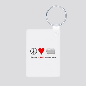 Peace Love Bubble Bath Aluminum Photo Keychain
