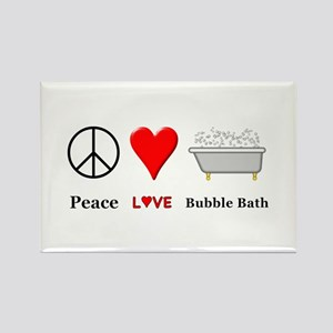 Peace Love Bubble Bath Rectangle Magnet