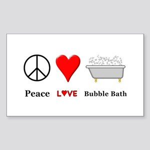 Peace Love Bubble Bath Sticker (Rectangle)