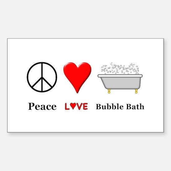 Peace Love Bubble Bath Sticker (Rectangle)