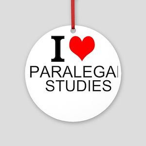 I Love Paralegal Studies Round Ornament