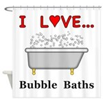Love Bubble Baths Shower Curtain