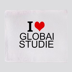 I Love Global Studies Throw Blanket