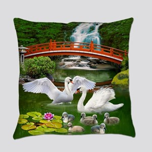 The Swan Family Everyday Pillow