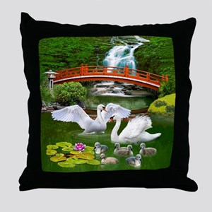 The Swan Family Throw Pillow