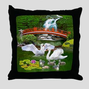 The Swan Family Throw Pillow