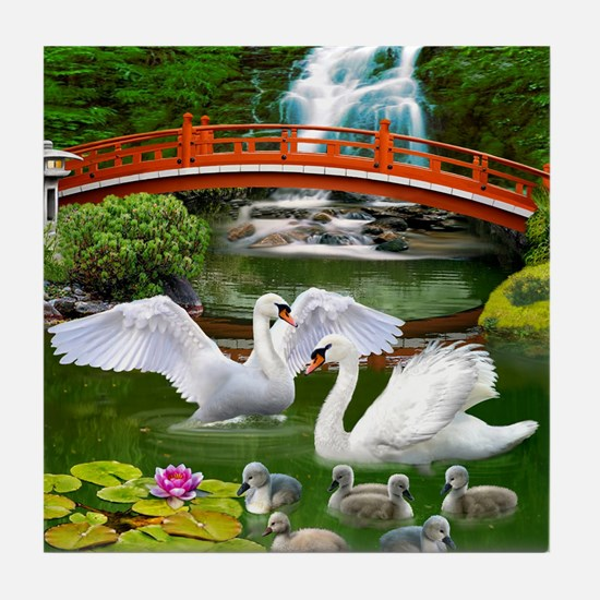 The Swan Family Tile Coaster