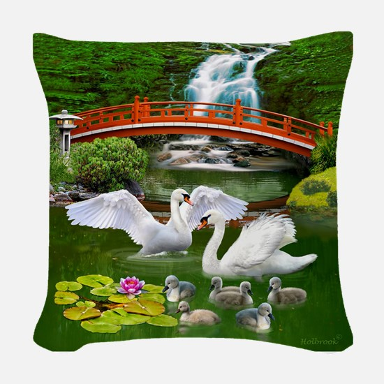 The Swan Family Woven Throw Pillow