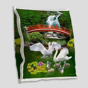 The Swan Family Burlap Throw Pillow