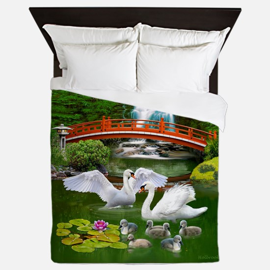 The Swan Family Queen Duvet