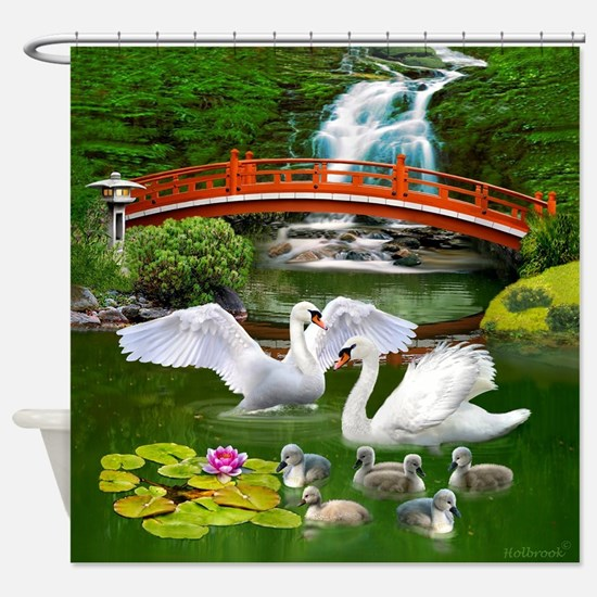 The Swan Family Shower Curtain