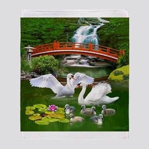 The Swan Family Throw Blanket
