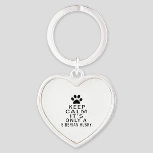 Siberian Husky Keep Calm Designs Heart Keychain