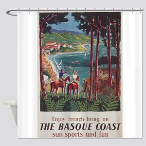 Basque Coast, France; Vintage Trave Shower Curtain