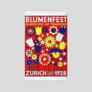 Zurich, Switzerland Flower Festival Vinta Area Rug