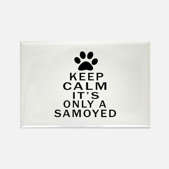 Samoyed Keep Calm Designs Rectangle Magnet