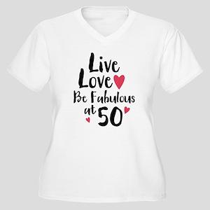 Live Love Fab 50 Women's Plus Size V-Neck T-Shirt