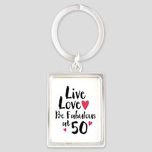 Live Love Fab 50 Portrait Keychain
