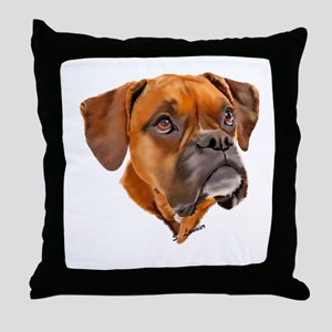 Boxer Art Portrait Throw Pillow