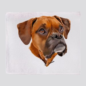 Boxer Art Portrait Throw Blanket