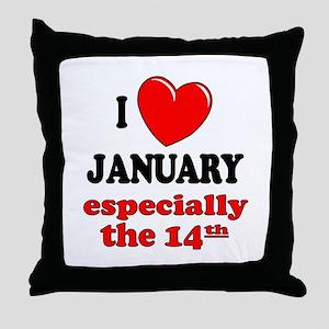 January 14th Throw Pillow