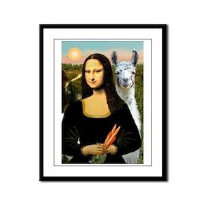 Mona Lisa's Llama Framed Panel Print
