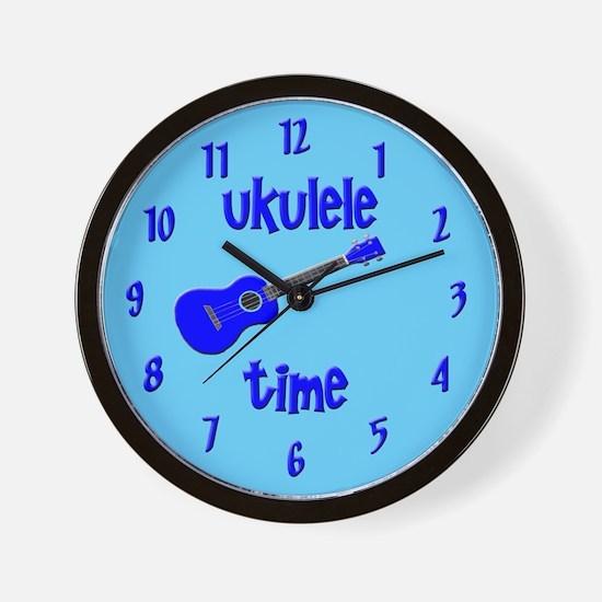 Blue Ukulele Clock Wall Clock