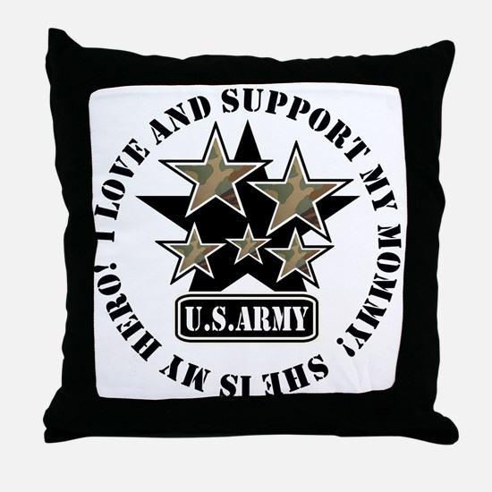 Kids Army Love Support Mommy Throw Pillow