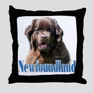 Newf(brown)Name Throw Pillow