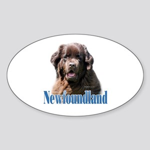 Newf(brown)Name Oval Sticker
