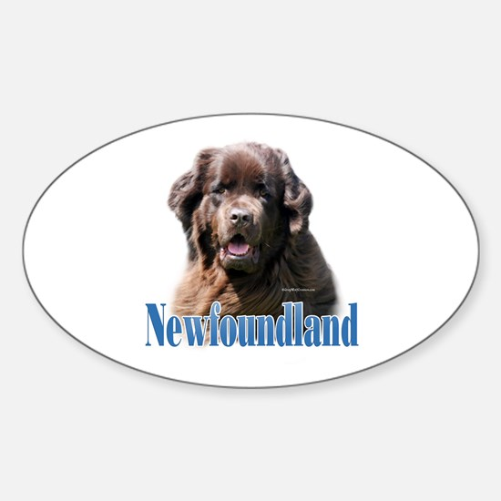 Newf(brown)Name Oval Decal