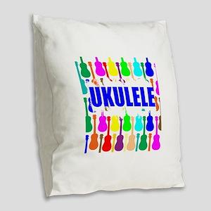Rainbow Ukulele Burlap Throw Pillow
