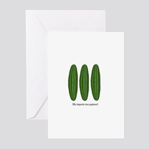 Me Importa Tres Pepinos Greeting Cards (Package of