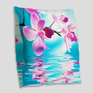 Beautiful Orchids Burlap Throw Pillow