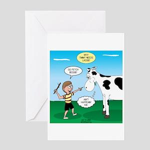 Timmy Cow Fetch Greeting Card