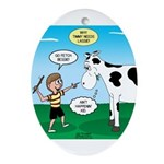Timmy Cow Fetch Oval Ornament